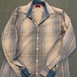 Blue checked button down shirt